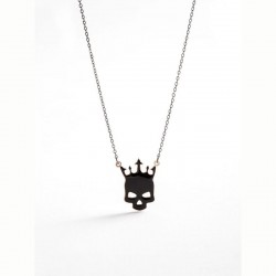 Power Of Symbol Lucky You Black Skull Necklace