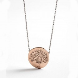 Power Of Symbol Peackok Stam Pink Gold Necklace