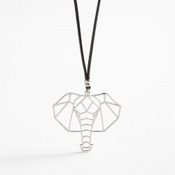 Power Of Symbol Elephant Madness Free Nikel with Black Lace Necklace